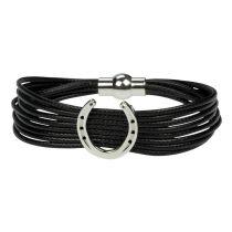 Armband mehrreihig schwarz mit Hufeisen
