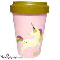 Bambus-Becher Travel Mug Pink Unicorn