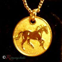 Halskette Pferd galoppierend goldfarben