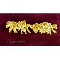 Plastronnadel / Anstecknadel Pferdegruppe goldfarben