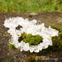 Bergkristall Mini-Trommelsteine / Splitter gebohrt, Strang