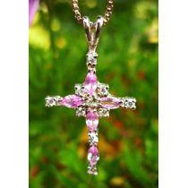 Kette Kreuz Zirkonia pink-weiß / Silber 925