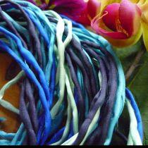 Seidenbänder WASSER, Blautöne, 12er-Pack