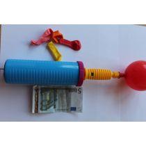 Ballonpumpe blau - kleine Kolbenpumpe - Zweiwegepumpe - ca. 29 cm