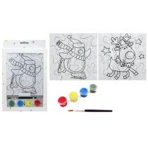Blanko Weihnachts Puzzle 2 Stück mit Farben zum Gestalten