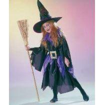 Kleine Hexe - Kinderkostüm lila - Kleid, Gürtel und Hut - Gr. 116