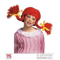 Perücke - freches Mädchen - orange Zöpfe für Kinder