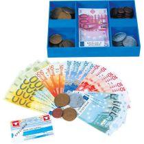 Spielgeld - Kassette - gefüllt mit Spielgeld