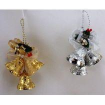 Weihnachtsglocken - Baumschmuck gold oder silber ca. 16 x 11 cm