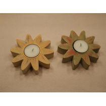 2 Kerzenhalter aus Holz, Blume