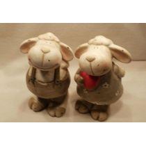 2 süße Schafe aus Keramik