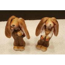 2 tolle Hasen aus Ton 13 cm hoch