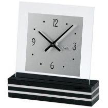 AMS 1107 Tischuhr Quarz analog schwarz eckig mit Glas und Alu
