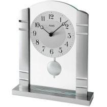 AMS 1118 Tischuhr Quarz mit Pendel silbern Metall mit Alu und Glas