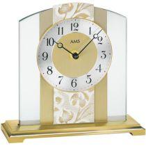 AMS 1123 Tischuhr Quarz analog golden aus Glas Messing und Kunstleder