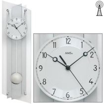 AMS 5261 Wanduhr Funk mit Pendel silbern Pendeluhr Glas Aluminium