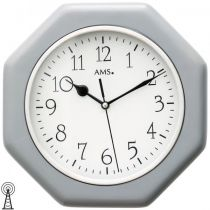 AMS 5511 Wanduhr Funk analog Holzgehäuse grau achteckig
