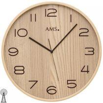 AMS 5514 Wanduhr Funk analog Holz naturfarben braun