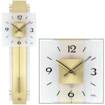 AMS 7301 Wanduhr Quarz mit Pendel golden mit Messing und Glas