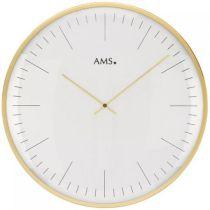 AMS 9541 Wanduhr Quarz analog weiß golden rund