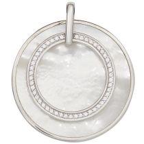 Anhänger 925 Silber rhodiniert mit Zirkonia 1 Perlmutt-Einlage