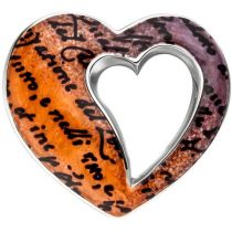 Anhänger Herz 925 Sterling Silber mit Emaille orange Herz Anhänger