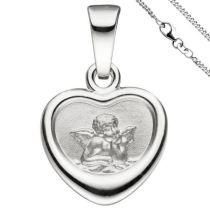 Anhänger Kleines Herz Herzchen Schutzengel 925 Sterling Silber mit Kette 38 cm