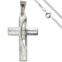 Anhänger Kreuz 925 Silber 3 Zirkonia Kreuzanhänger mit Kette 60 cm