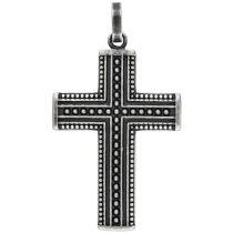 Anhänger Kreuz Edelstahl geschwärzt Kreuzanhänger schwarz