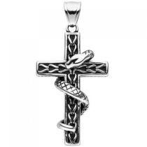 Anhänger Kreuz mit Schlange Edelstahl geschwärzt