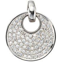 Anhänger rund 585 Weißgold 78 Diamanten Brillanten 1,45 ct. 23,5 mm