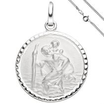 Anhänger Schutzpatron Christopherus 925 Sterling Silber mit Kette 50 cm