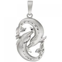 Anhänger Sternzeichen Fische 925 Sterling Silber teil matt