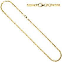 Ankerkette 333 Gold Gelbgold diamantiert 3 mm 50 cm Halskette