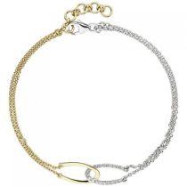 Armband 2-reihig 585 Gelbgold Weißgold bicolor 18 Diamanten 19,5 cm