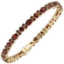 Armband 333 Gelbgold und 72 Granate rot 19 cm - 4,9 mm Goldarmband