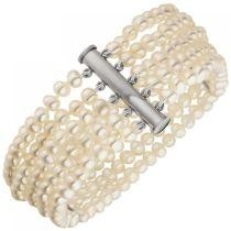 Armband 5-reihig Süßwasser Perlen und 925 Sterling Silber 19 cm Perlenarmband