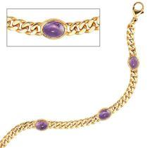 Armband 585 Gelbgold 19 cm - 7,5 mm - 4 Amethyst-Chabochons lila
