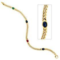 Armband 585 Gelbgold 19 cm Saphir Rubin Smaragd Cabochon Goldarmband