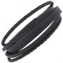 Armband 6-reihig Leder schwarz mit Edelstahl 22 cm