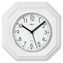 Atlanta 6010 Küchenuhr Wanduhr Quarz analog Keramik weiß achteckig