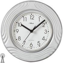 Atlanta 6021 Küchenuhr Wanduhr Funk analog Keramik grau weiß