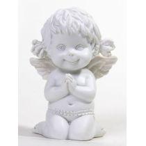 Betender Engel Lucy, kniend, weiß, 8 cm