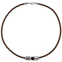 Collier Halskette Leder braun mit Edelstahl und Holz 45 cm Lederkette