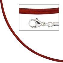 Collier Halskette Leder rot 925 Silber 42 cm - 2 mm Karabiner