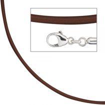 Collier Halskette PVC braun, Verschluss aus 925 Silber 42 cm - 2 mm