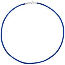 Collier Halskette Seide blau 2,8 mm 42 cm, Verschluss 925 Silber Kette