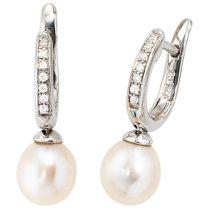 Creolen 925 Silber 2 Süßwasserperlen Perlen 14 Zirkonia Ohrringe