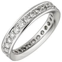 Damen Memory-Ring 585 Weißgold mit Diamanten Brillanten 1,12 ct.