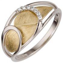 Damen Ring 0,05 ct 585 Weißgold Gelbgold bicolor 7 Diamanten